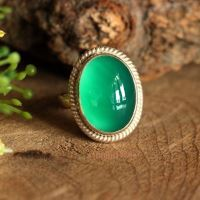 Green onyx ring - Emerald green ring - Faceted ring - Oval ring - Gifts