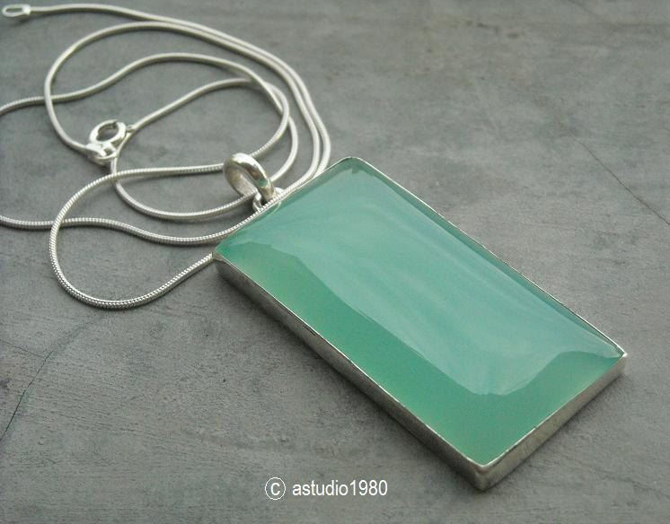 Buy green pendant rectangular pendant necklace chalcedony silver green pendant rectangular pendant necklace aloadofball Gallery
