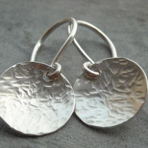 Hammered sterling silver disk earrings