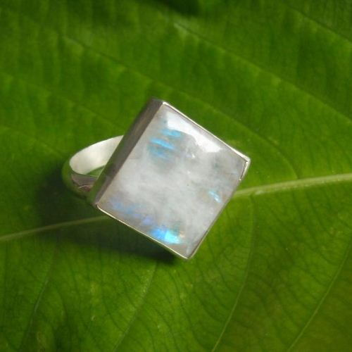 Handmade artisan rainbow moonstone ring