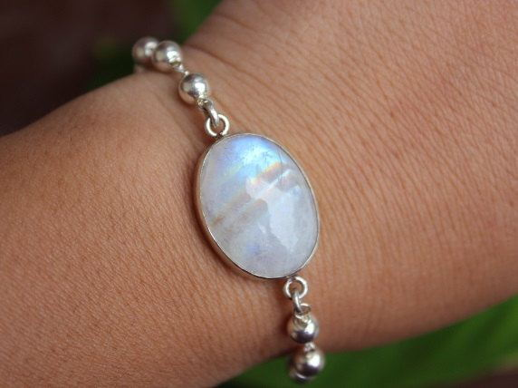 Handmade Rainbow Moonstone Bracelet Genuine Gemstone Silver Online At Astudio1980