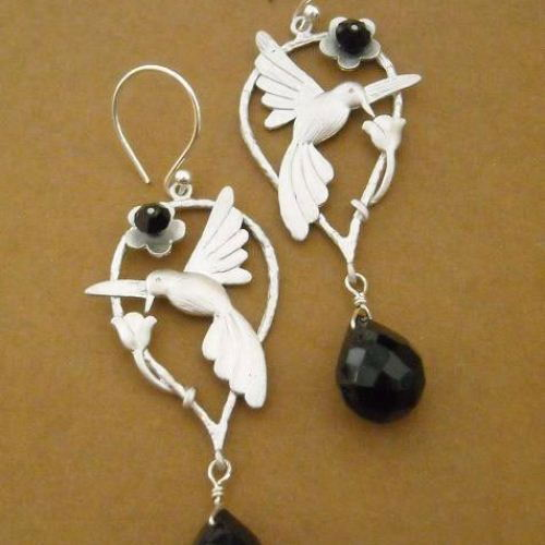 Humming bird black onyx gemstone sterling silver swarovski crystal earrings