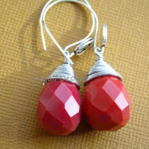 I love you Designer sterling silver red coral Quartz earrings