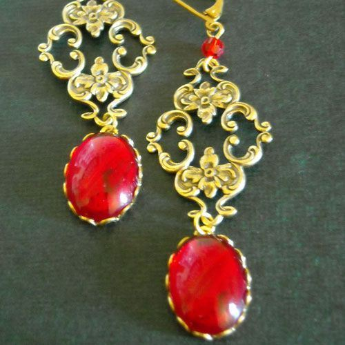 I love you forever Vintage brass ruby red glass swarovski crystal cab earrings