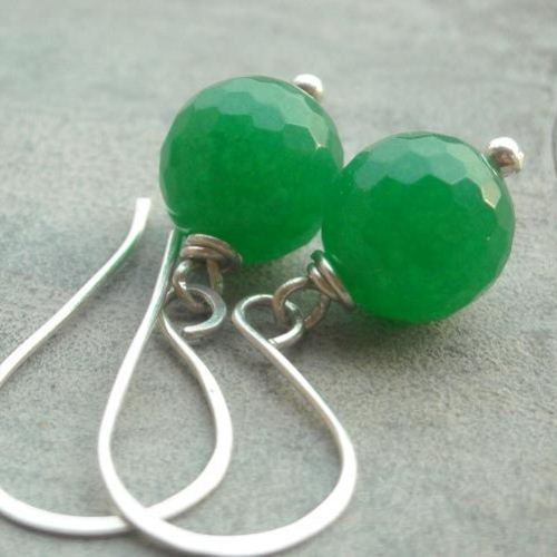 Jade green sterling silver earrings