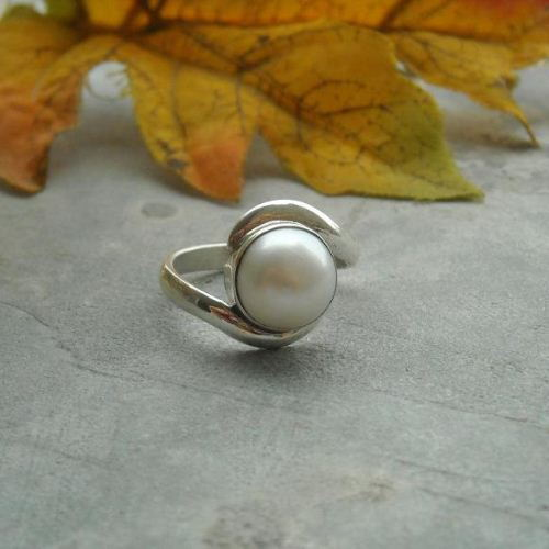 June birthstone ring silver pearl