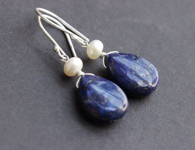 Lapis Lazuli earrings Blue lapis