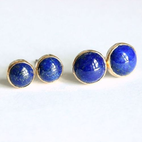 round sterling earring stud cb dyed bling unisex gemstone earrings ball az jewelry silver lapis