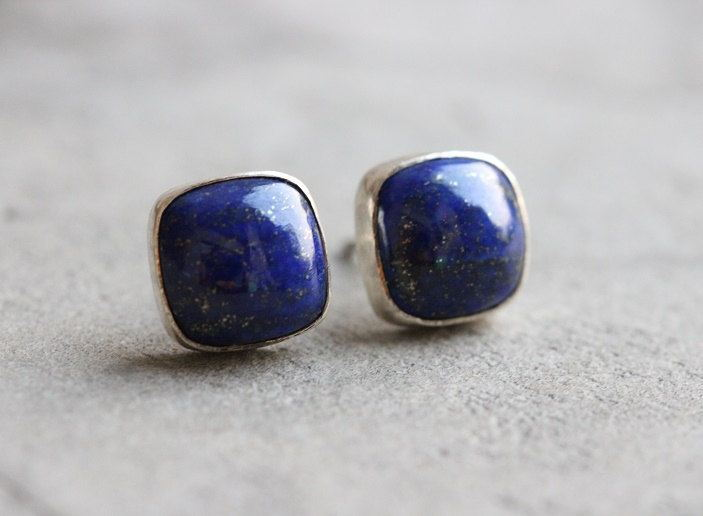 buy earrings silver lazuli cushion cut lapis stud