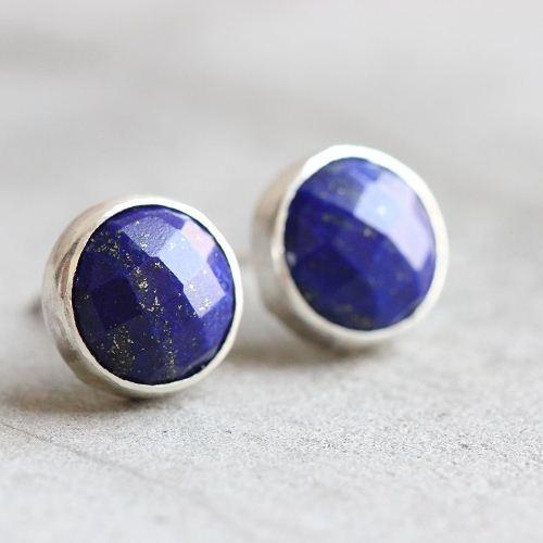 Lapis Lazuli Stud Earrings Silver