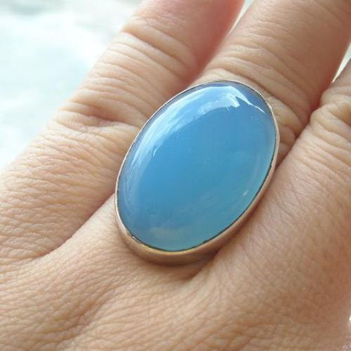 Buy Large Oval Ring Big Bold Ring Aqua Blue Chalcedony Silver Ring