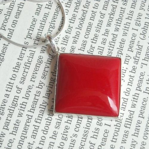 Buy large red coral pendant necklace square silver pendant buy large red coral pendant necklace square silver pendant jewelry online at astudio1980 mozeypictures Gallery