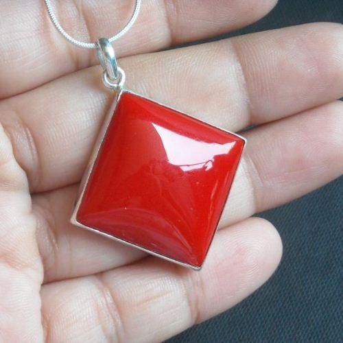 Buy large red coral pendant necklace square silver pendant jewelry large red coral pendant necklace square silver pendant jewelry aloadofball Images