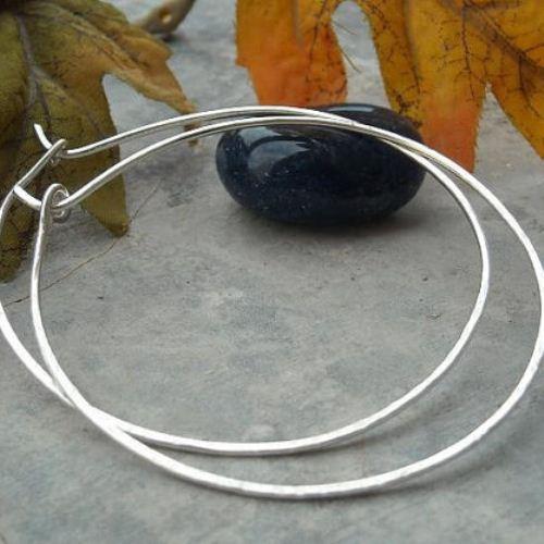 Large Hoop Earrings 45mm Silver Handmade