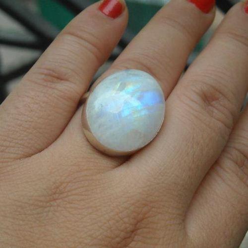 Buy Large Oval Rainbow Moonstone Ring Artisan Sterling