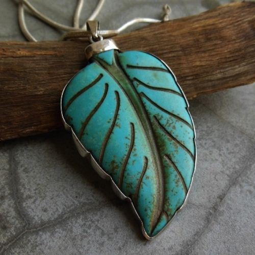 Large turquoise pendant chain sterling