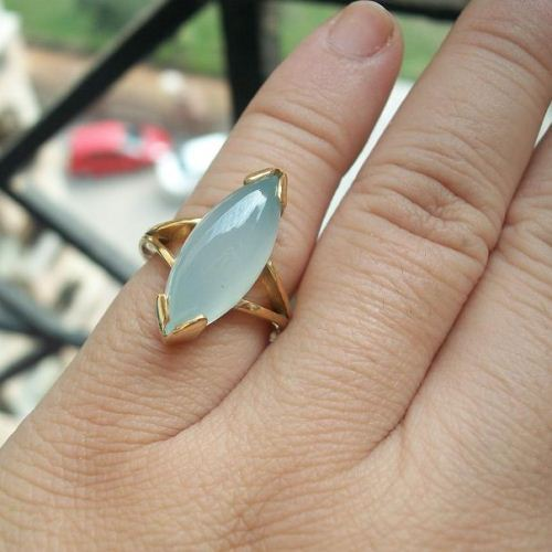 Light blue chalcedony stone ring
