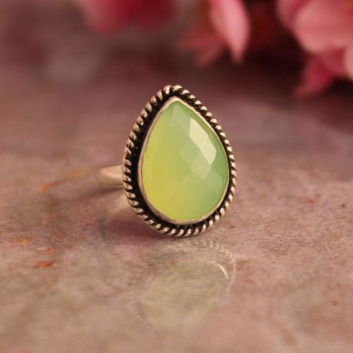 Lime green ring Green Chalcedony