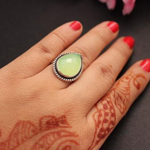 Buy Lime Green Ring Green Chalcedony Silver Ring Artisan