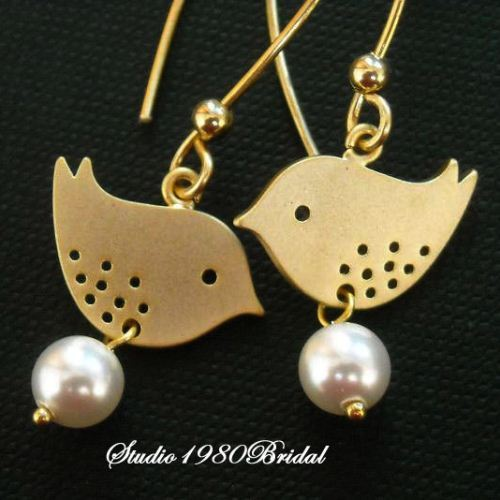 Love birds Bridal Gold earrings