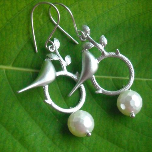 Love birds earrings Pearl earrings