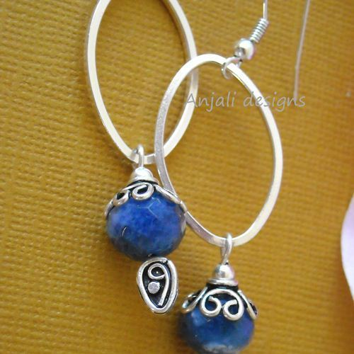 Lovely sterling silver Denim blue sodalite earrings
