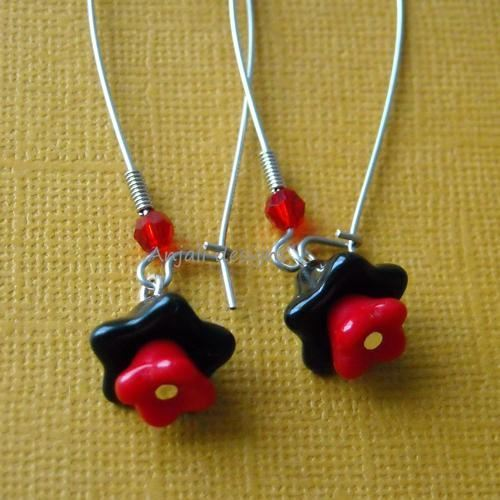 Lovely sterling silver black red flower earing