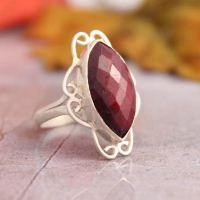 Marquise ring - Filigree ring - Ruby ring - July birthstone - Handmade