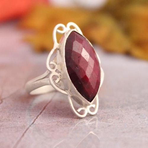 Marquise ring Filigree ring Ruby