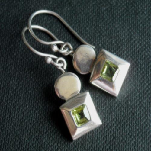 Modern Handmade Square Peridot Sterling Silver Earrings