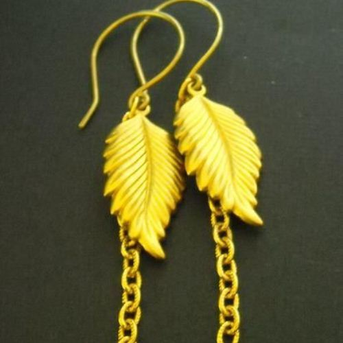 Modern leaf style Vintage brass golden earrings