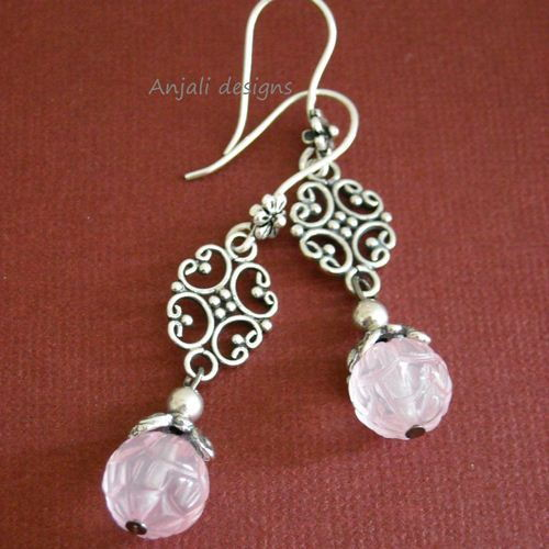 Mom Inspired by love rose quartz sterling silver earrings