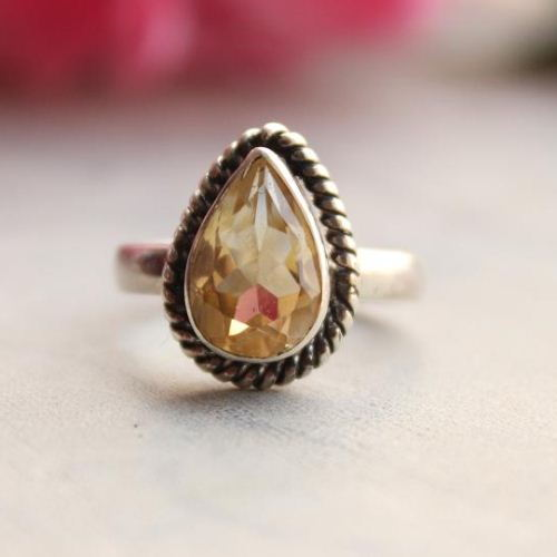 Natural Citrine ring Artisan gemstone