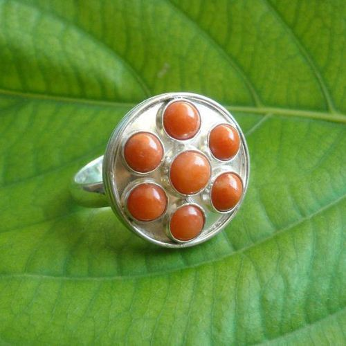 Natural Coral ring Ethnic ring
