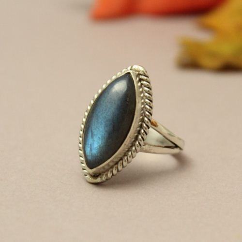Natural Labradorite Ring Bezel set