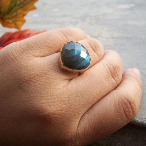 Buy Natural Labradorite Ring Gold Labradorite Ring