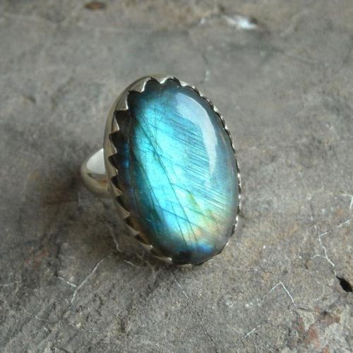 Natural Labradorite Ring Oval Labradorite