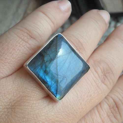 Buy Natural Labradorite Ring Square Ring Unique Silver Ring Online At Astudio1980 Com