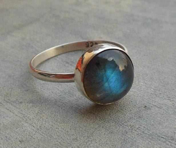 Natural Labradorite Ring 10mm round