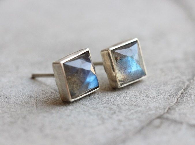 Natural Labradorite earrings Stud earrings