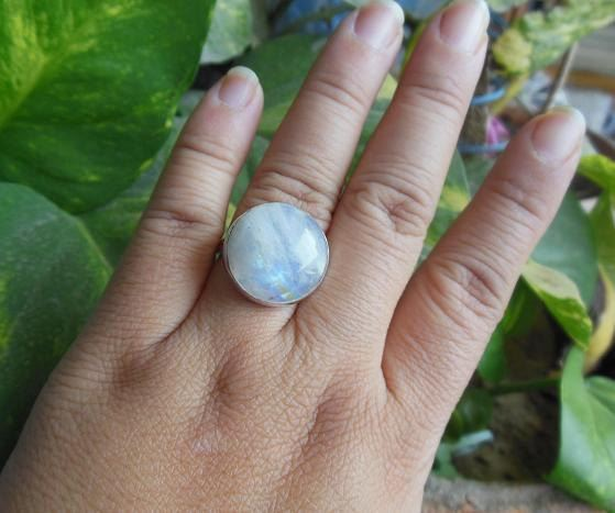 Natural Moonstone Ring Round ring