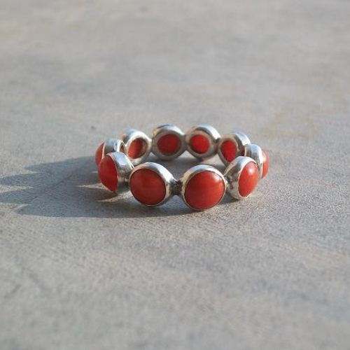 Natural Red Coral Ring Silver