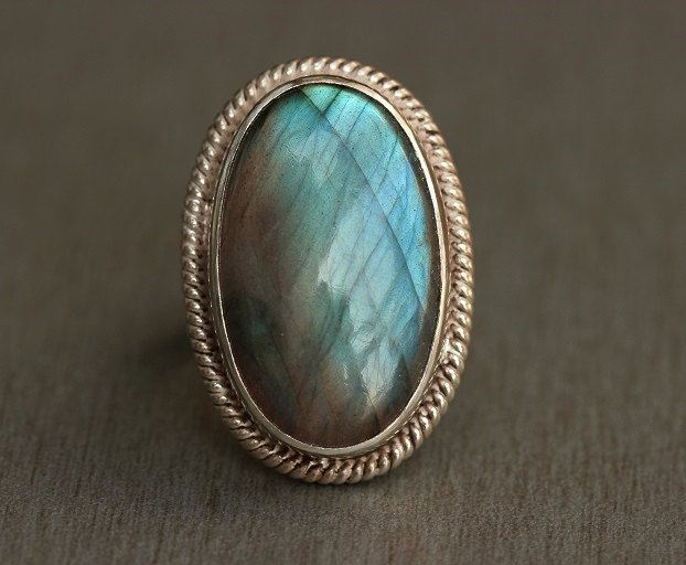 Natural labradorite ring Cabochon ring
