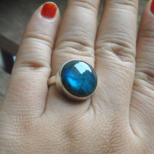 Natural labradorite ring cute sterling