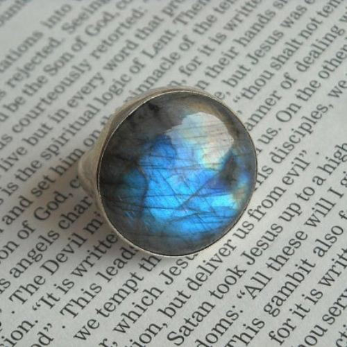 Natural labradorite ring round gemstone