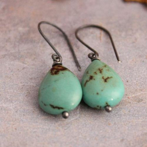 Natural turquoise hook earrings oxidized