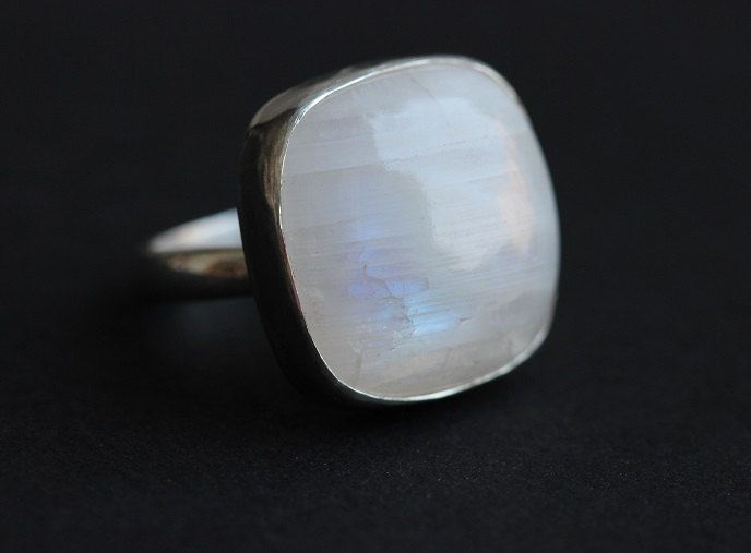 OOAK Adjustable ring Rainbow moonstone