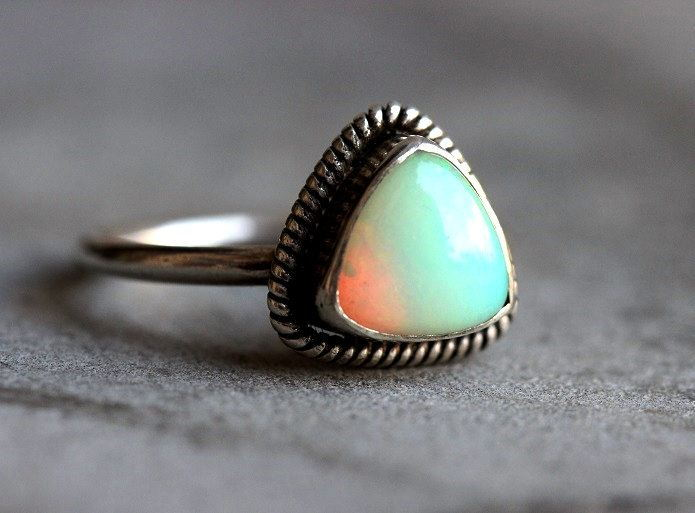 OOAK Genuine opal ring Triangle