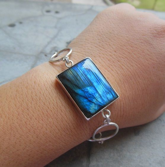 OOAK Labradorite bracelet Rectangle Sterling
