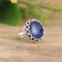 OOAK Lapis Lazuli ring - Artisan blue ring - Denim ring - Bezel ring
